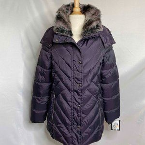 London Fog Faux Fur Trim Hooded Zip Puffer Jacket